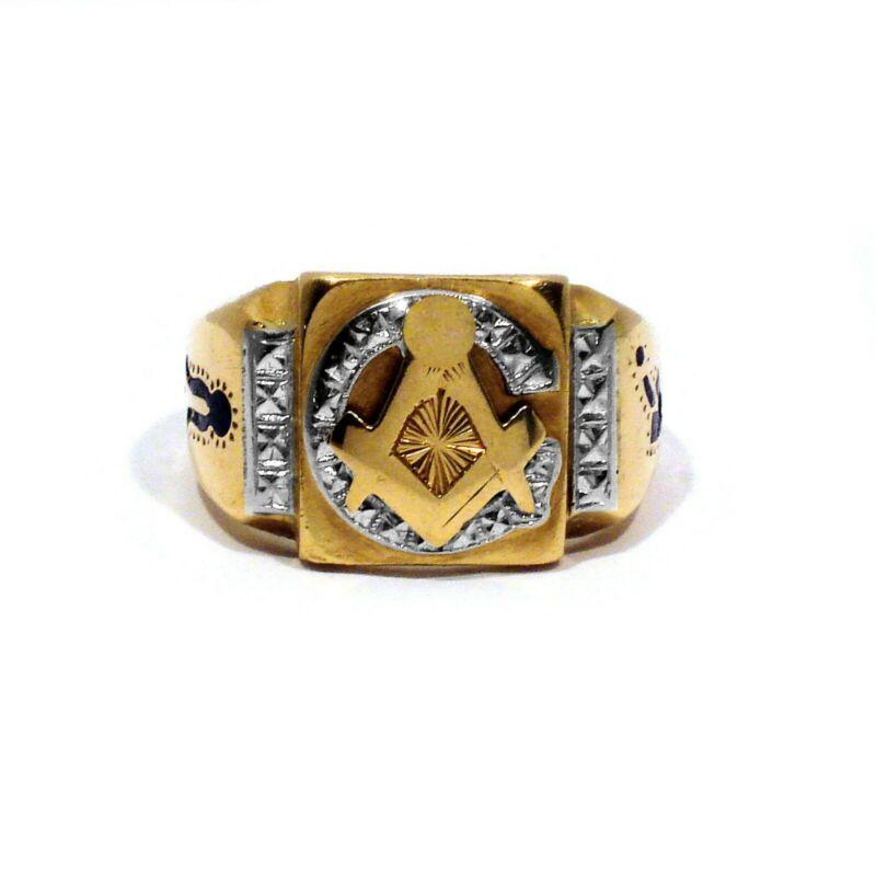 RINGMASTER SOLID 10K YELLOW & WHITE GOLD MASONIC RING ~ SIZE 10 1/2