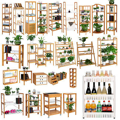 Standregal Bambus Badregal Küchenregal CD Bücher Holzregal Blumentreppe #602