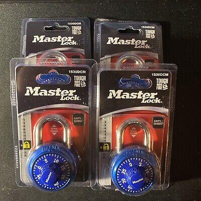 Master Lock New 1530dcm Blue Locker Lock Combination Padlock Lot Of 4