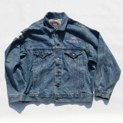 Billy Joel USO DOD Philippines 1991 Denim Tour Jacket Made in Canada Size Large