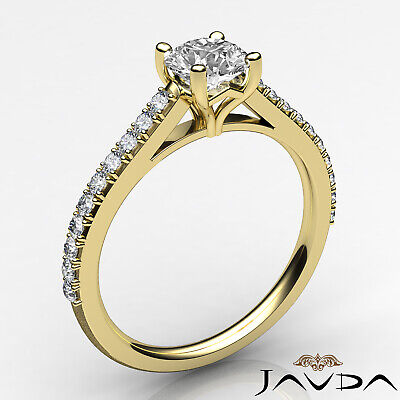 French V Pave Round Diamond Engagement Cathedral Ring GIA Certified F VS1 1.02Ct 6