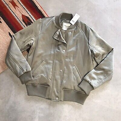New Abercrombie & Fitch Army Green Satin Bomber Coat Jacket Women's Small S
