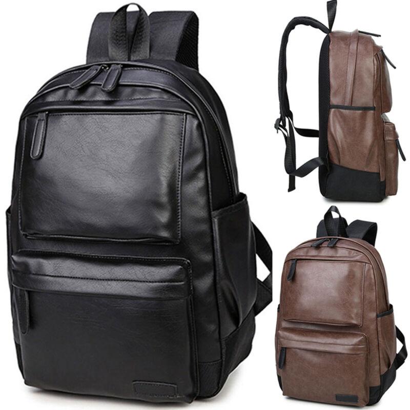 unisex men leather backpack shoulder school book