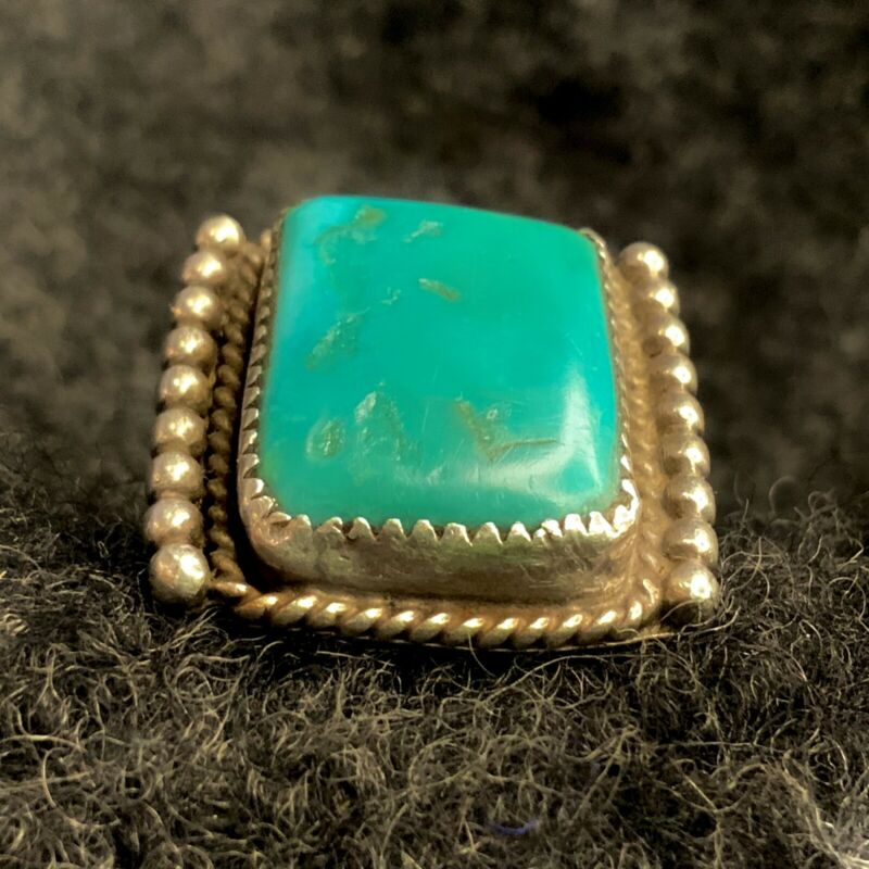 1930s RARE Lynn Trusdell Collection Caribbean Blue Turquoise Ingot Silver Ring