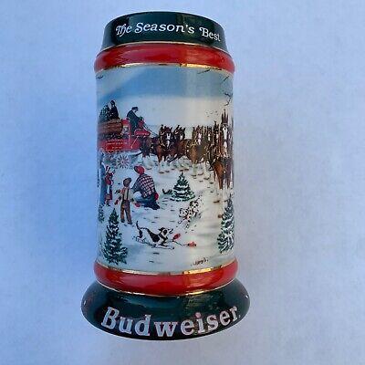 Vintage 1991 BUDWEISER CHRISTMAS BEER STEIN MUG SEASON'S BEST CLYDESDALES