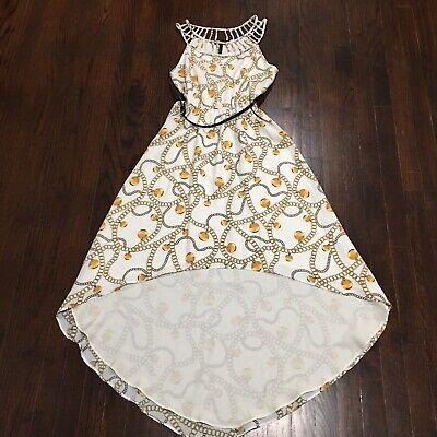 BCBG Paris High Low Dress Size XS Belted Cut Out Neckline Elastic Waist AA0699 Bcbg Paris