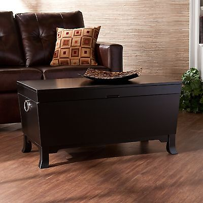 Genial Hope Chest Storage Trunk Black Wooden Coffee Table Large Box For Quilts  Blanket