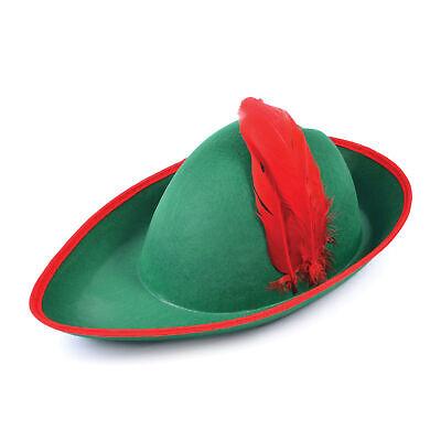Herren Robin Hood Hut Feder Fairy Märchen Peter Pan Kostüm Verkleidung Zubehör