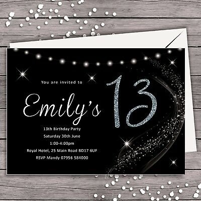 PERSONALISED BIRTHDAY PARTY INVITATION 13th 16th 18th 21st 30th 40th 50th ANY AG ()