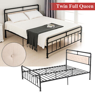 Twin Full Queen Metal Bed Frame 6 Leg PU Leather Button Tufted Headboard (Button Tufted Full Headboard)