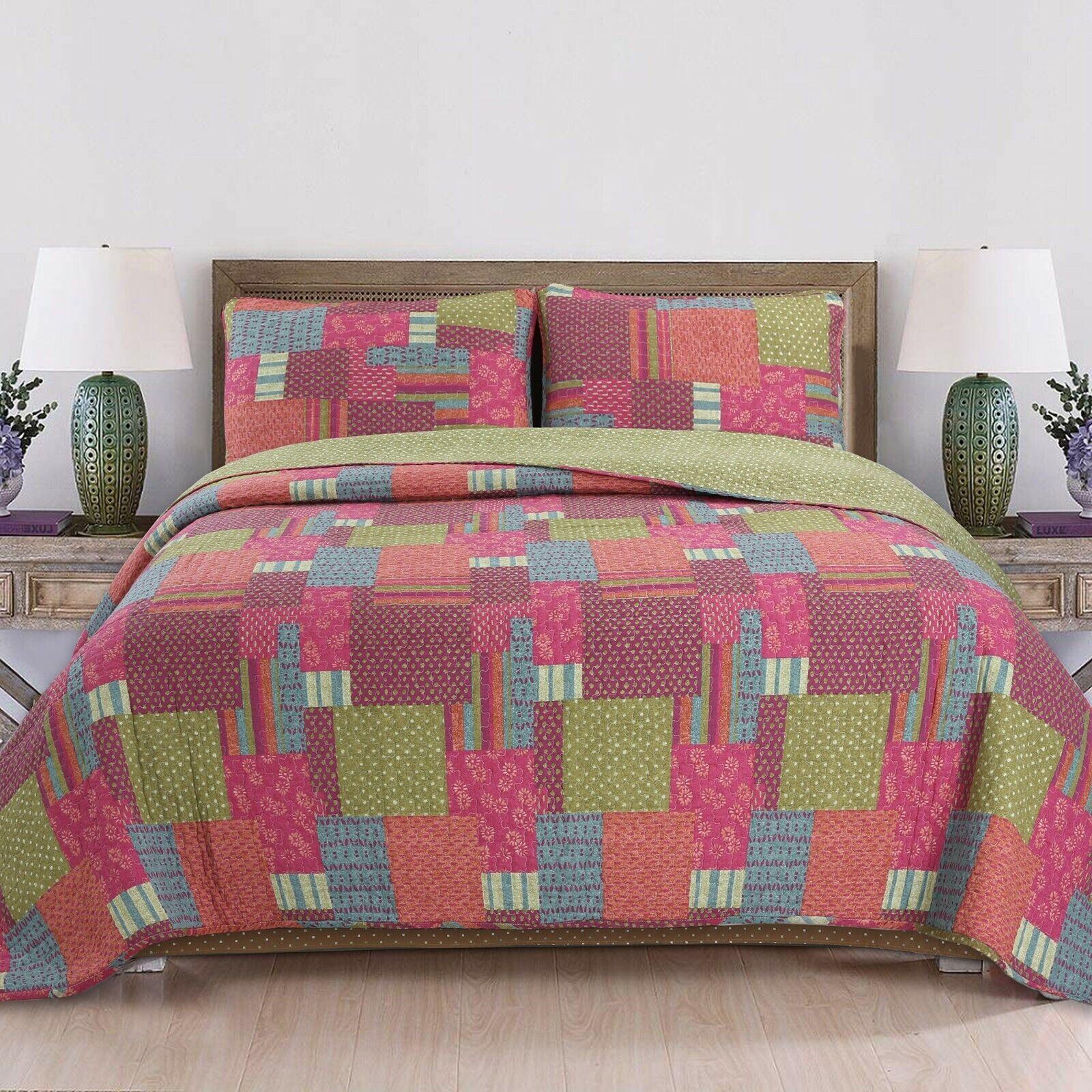 Cozy Line Daleyza Patchwork 3- Piece Reversible Cotton Quilt
