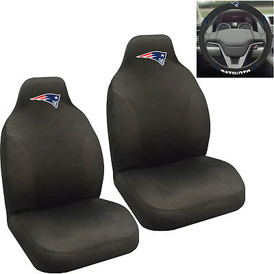 NFL New England Patriots Car Truck 2 Front Seat Covers Steering Wheel Cover Set