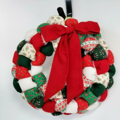 "Christmas Wreath Patchwork Fabric Stuffed Puffy Handmade Retro Red 15"" Vintage"
