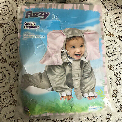 Fuzzy Cuddly Elephant 12-24 mos halloween play costume preowned IBIN