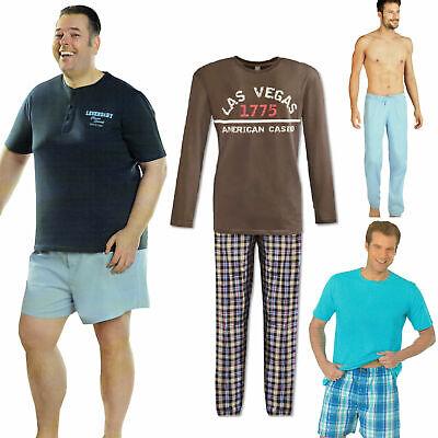 Herren Schlafhose Schlafanzug Pyjama Shorty 100% Baumwolle Nachtwäsche gewebt