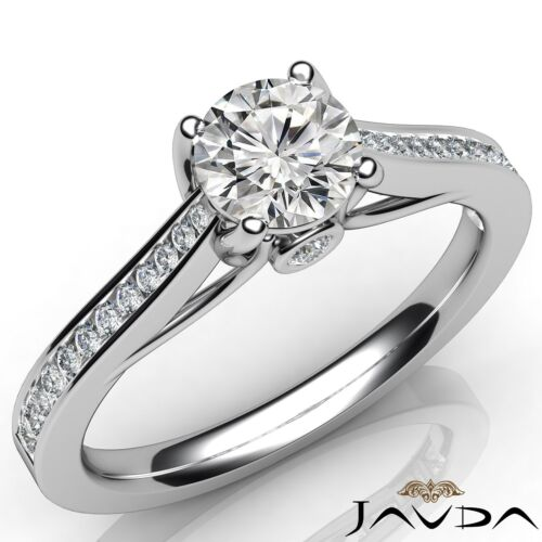 0.8ct Round Diamond Engagement Channel Bezel Set Ring GIA E VVS1 14k White Gold