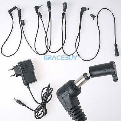 UE Guitarra Effects Pedal Power Supply Adaptador & 6 Way Cable Cords...