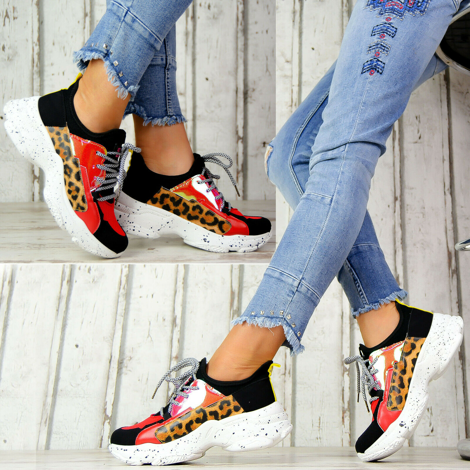 Neu Plateau Sneaker Lack Damen Schuhe Stiefeletten Metallic Style Lack Leo Look