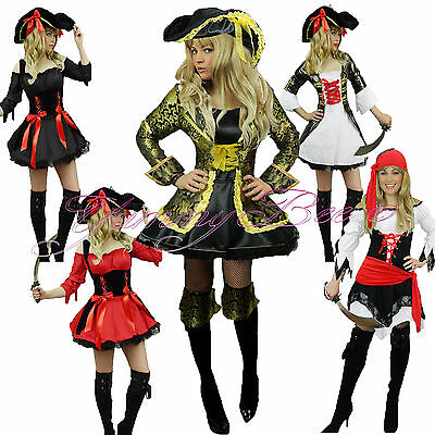 Yummy Bee Pirate Outfit Women Caribbean Plus Size 6-22 Fancy Dress Costume Hat (Pirate Costume Plus Size)