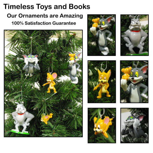 Tom and Jerry Christmas Ornaments 5 Piece Set Featuring Tom, Jerry, Spike