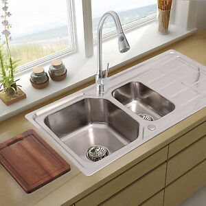 DOUBLE 1 5 BOWL STAINLESS STEEL KITCHEN SINK DRAINER