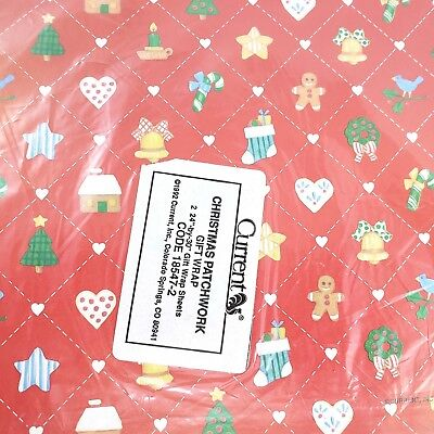 Vintage Current Brand Christmas Gift Wrap 2 Sheets 24x30 Patchwork Pattern Paper ()