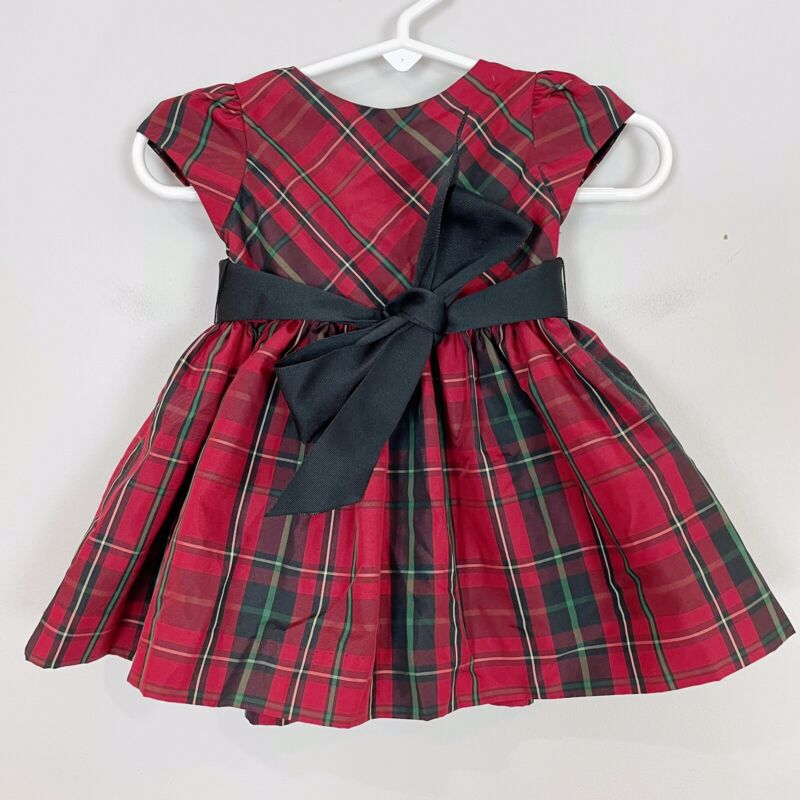NWT New RALPH LAUREN Baby Girl 3 mo Red & Green PLAID DRESS Christmas Holiday