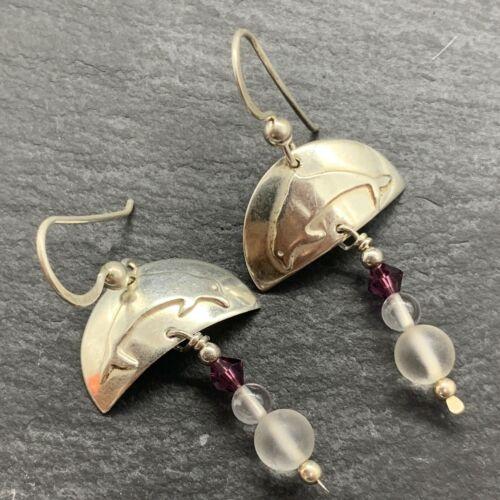 Vintage 925 Sterling Silver Drop Dangle Earrings Dolphins Quartz Stones
