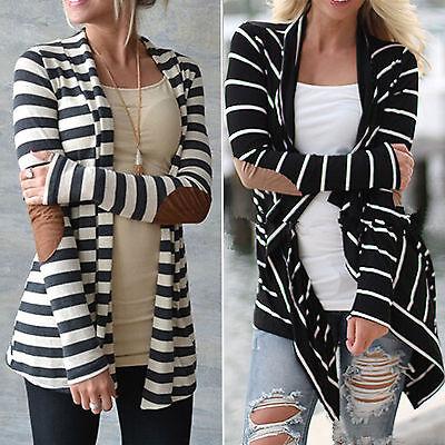 Cotton Cardigan Jacket - Womens Long Sleeve Striped Cardigan Sweater Coat Jacket Slim Outwear Autumn Tops