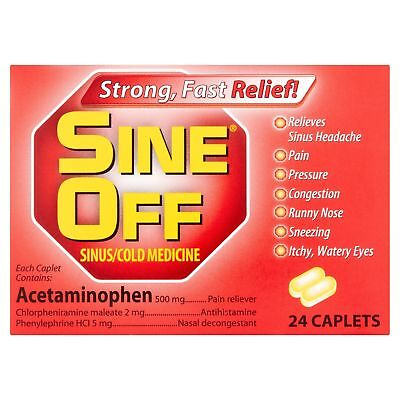 Sine Off Sinus/Cold Medicine Strong Fast Relief 24 Caplets