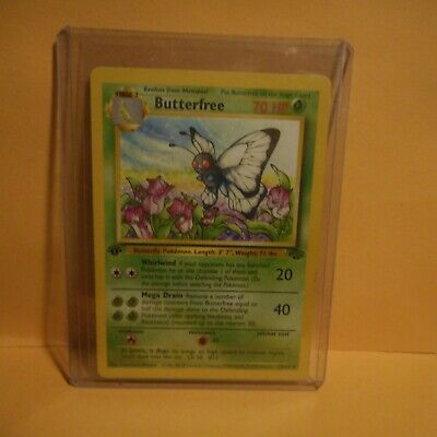 Pokemon 1ST EDITION JUNGLE BUTTERFREE ERROR D 1995,96,98 RARE CARD  33/64
