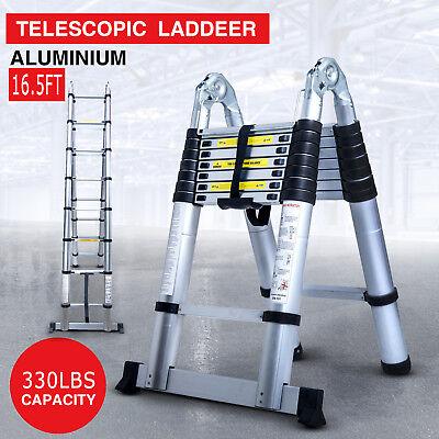 16.5FT Aluminium Ladders Telescoping Multi-Purpose Extension Folding Step Ladder