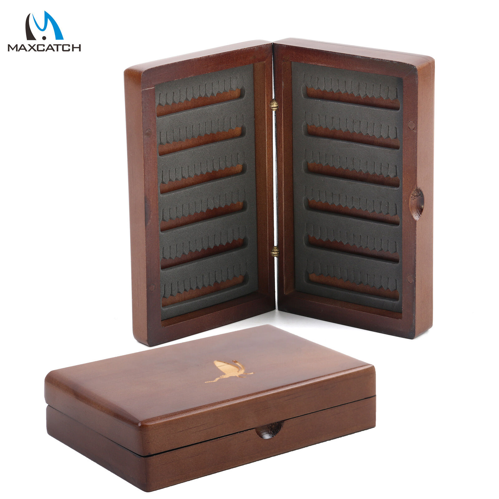 Natural Wooden Fly Box Fly Fishing Tackle Box Double Side Slit Foam Insert Ebay