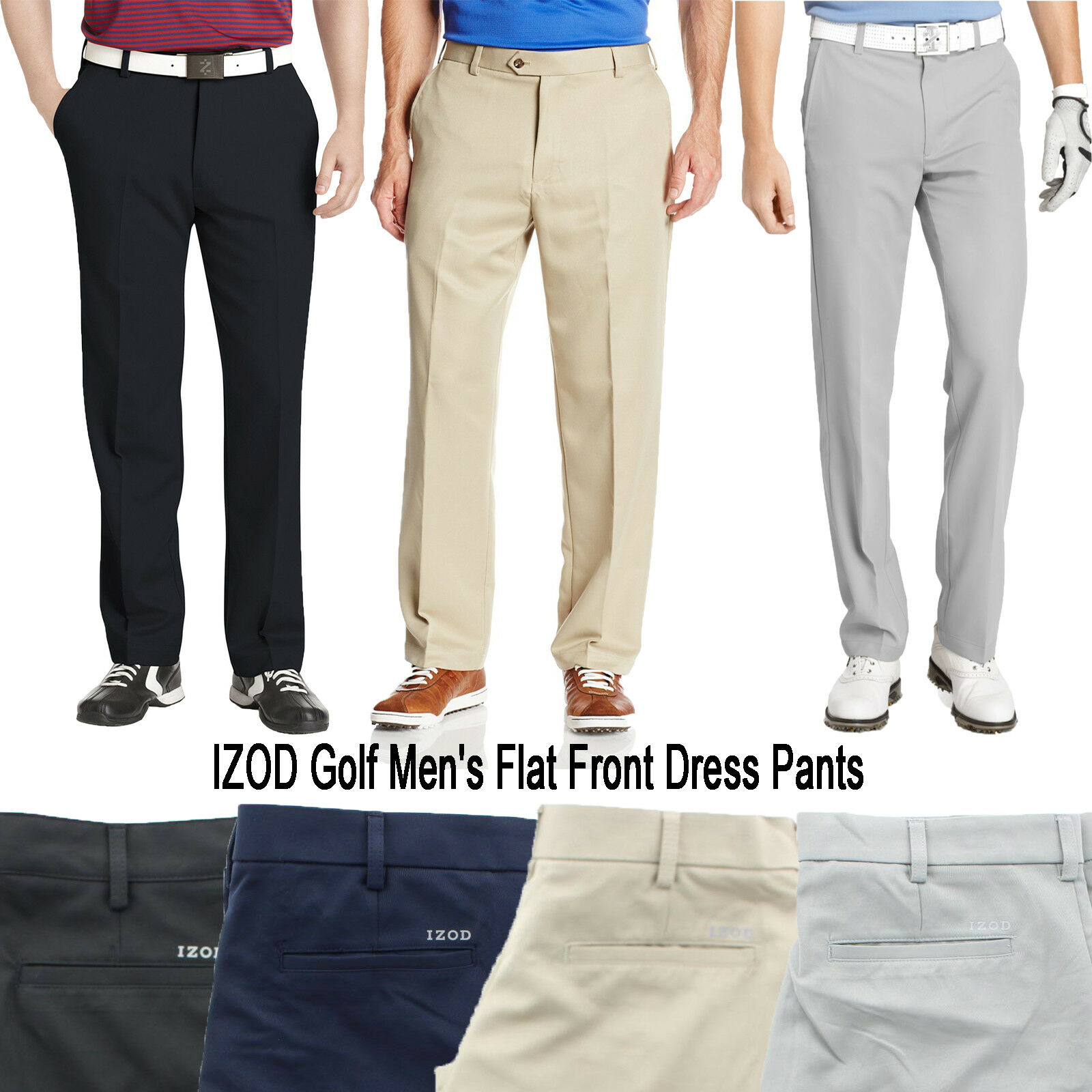 IZOD Men's Golf Performance Flat Front Classic Stretch Dress