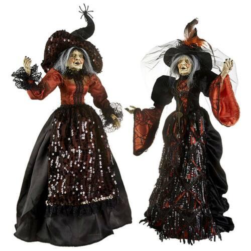 "Set/2 25.5"" RAZ Classic Witch Orange Black Halloween Figurine Dolls Retro Decor"