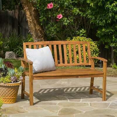 4' Acacia Bench - 4 ft Outdoor Acacia Wood Garden Teak Bench Patio Furniture Backyard Porch Seat