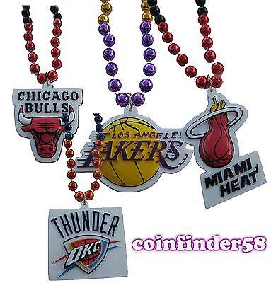 NBA Mardi Gras Sport Beads With Medallion Necklace - Pick Team Mardi Gras Pick