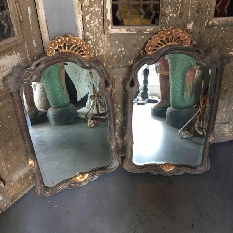 Pair Excellent Art Nouveau Style Carved Wooden Mirrors Beveled Edge Deco