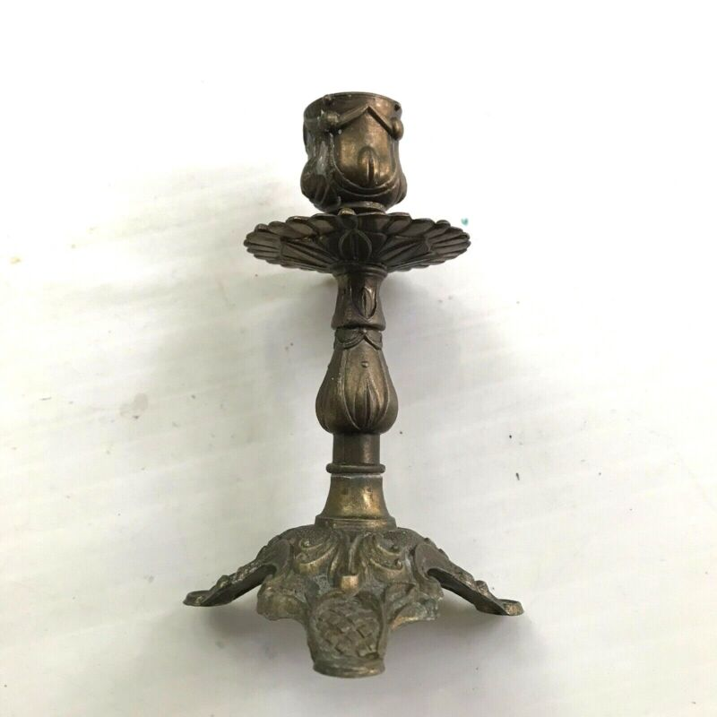 """Candle Holder Vintage Metal Aged Patina  Brass 6"""" H Traditional Boho Victorian"""