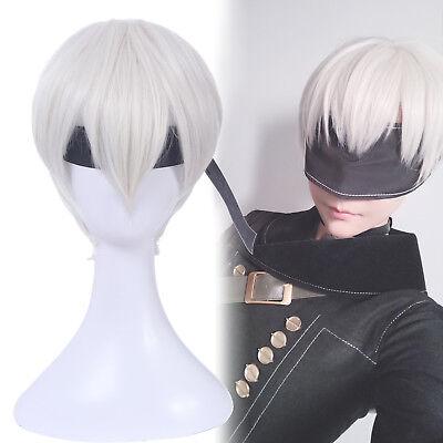 Mens White Wigs (NieR:Automata 9S YoRHa No.9 Short Beige White Mens Cosplay Wig Anime Hair)