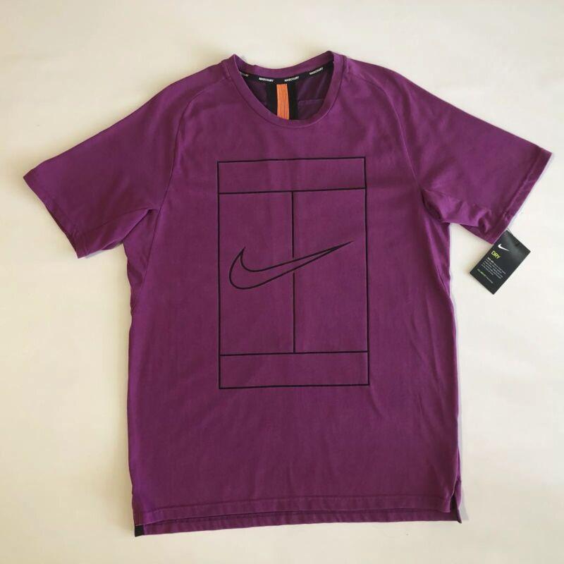 NIKE TENNIS COURT  Men's Dri fit PurpleBlack Crew Neck Shirt Sz L💰50