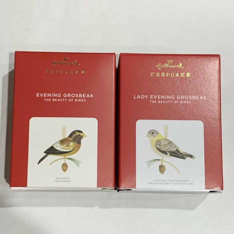 New Hallmark 2021 LE LADY + EVENING GROSBEAK SET 17th Beauty Of Birds Ornaments