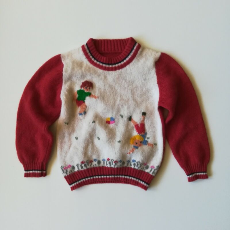 Vintage 1970s Kids Playing Image Knit Lambs Wool Sweater Red White Size 4 5