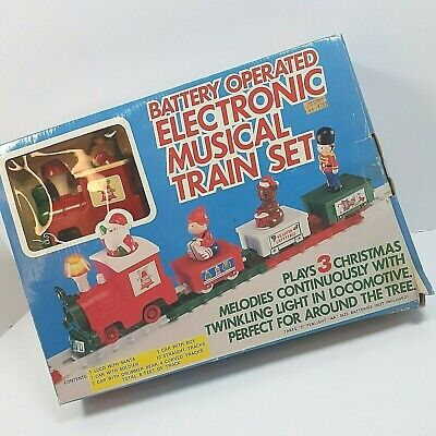 Vintage Electronic Musical Christmas Train Set Battery Op 1985 Yuletide Concepts