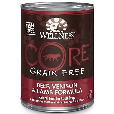 Wellness CORE Natural Wet Grain Free Canned Dog Food, Beef, Venison  Lamb,