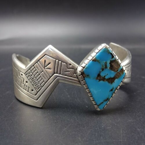 Kewa RODERICK TENORIO for RELIOS Vintage Sterling Silver TURQUOISE Cuff BRACELET