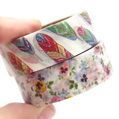 Washi Tape Floral Feathers Rainbow Pansy Flower 15mm x 10m