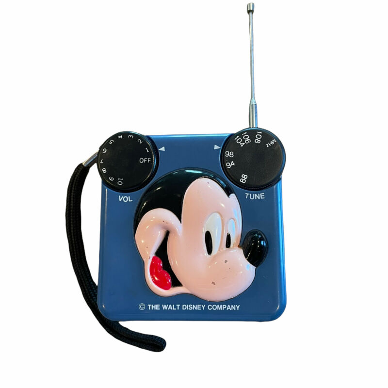 Mickey Mouse transistor radio FM blue tested working