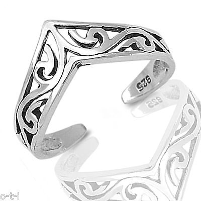Celtic Filigree Adjustable Toe Ring Genuine Sterling Silver