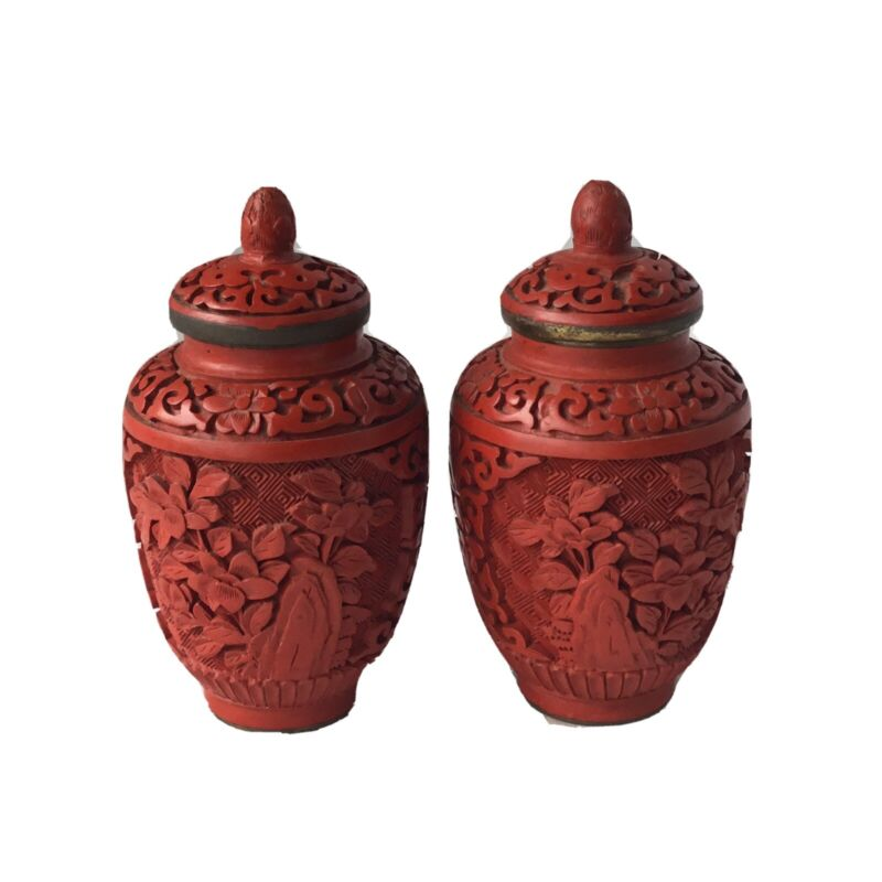 Pair Chinese Red Cinnabar Lacquer Blue Enamel Brass Lidded Ginger Spice Jars
